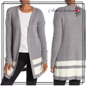 Love by Design Open Stripe Grandpa Sweater